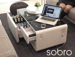 无所不能的智能茶几Sobro,迷你冰箱、蓝牙音箱、USB、照明等通通有